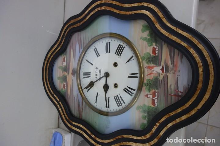 Relojes de pared: RELOJ DE PARED DE OJO DE BUEY PINTADO A MANO FUNCIONA CORRECTAMENTE - Foto 2 - 155998650