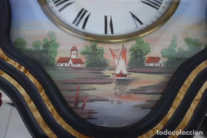 Relojes de pared: RELOJ DE PARED DE OJO DE BUEY PINTADO A MANO FUNCIONA CORRECTAMENTE - Foto 4 - 155998650