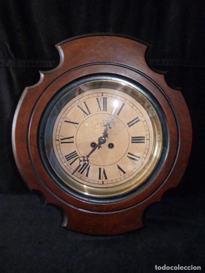 ANTIGUO RELOJ DE PARED OJO DE BUEY. MAQUINARIA WERNER DEPONIRT. RELOJERÍA P. VIDAL (VALENCIA ?) CIRC (Relojes - Pared Carga Manual)