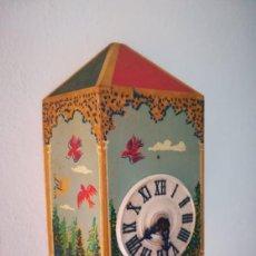 Relojes de pared: UNICO RELOJ DE PARED INFANTIL PINTADO A MANO VILLEMOT PARA RESTAURAR. Lote 159786074