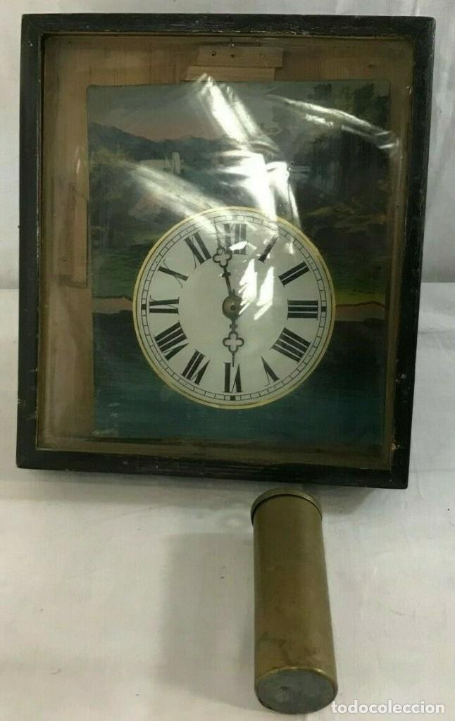Relojes de pared: antiguo reloj ratera de la selva negra año 1850- frontal pintado- muy buen estado - Foto 6 - 160270250