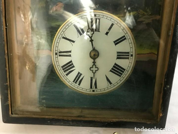 Relojes de pared: antiguo reloj ratera de la selva negra año 1850- frontal pintado- muy buen estado - Foto 7 - 160270250