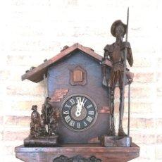 Relojes de pared: RELOJ DE CUCO DIFERENTE. BOSQUE NEGRO. MODIFICADO ARTESANALMENTE ALEGORIA D. QUIJOTE.. Lote 161087194