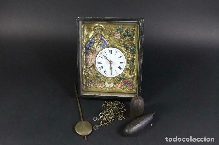 ¡¡GRAN OFERTA!!!ANTIGUO RELOJ RATERA SELVA NEGRA-FRONTAL LATON MUSICOS BUEN ESTADO-1860-LOTE 185 (Relojes - Pared Carga Manual)