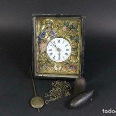 Relojes de pared: ¡¡GRAN OFERTA!!!ANTIGUO RELOJ RATERA SELVA NEGRA-FRONTAL LATON MUSICOS BUEN ESTADO-1860-LOTE 185. Lote 161816774