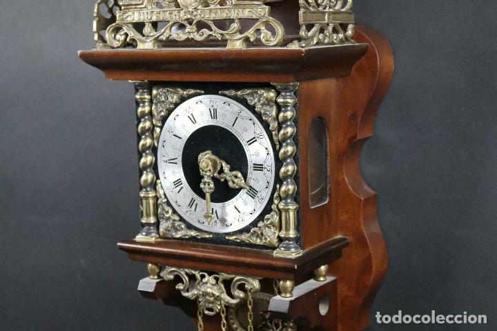 Relojes de pared: ANTIGUO RELOJ PARED PESAS PENDULO SONERIA MADERA LATON FUNCIONANDO - Foto 6 - 162232634