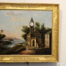 Relojes de pared: PAISAJE CON RELOJ EN EL CAMPANARIO DE LA IGLESIA, S.XIX. Lote 166061354