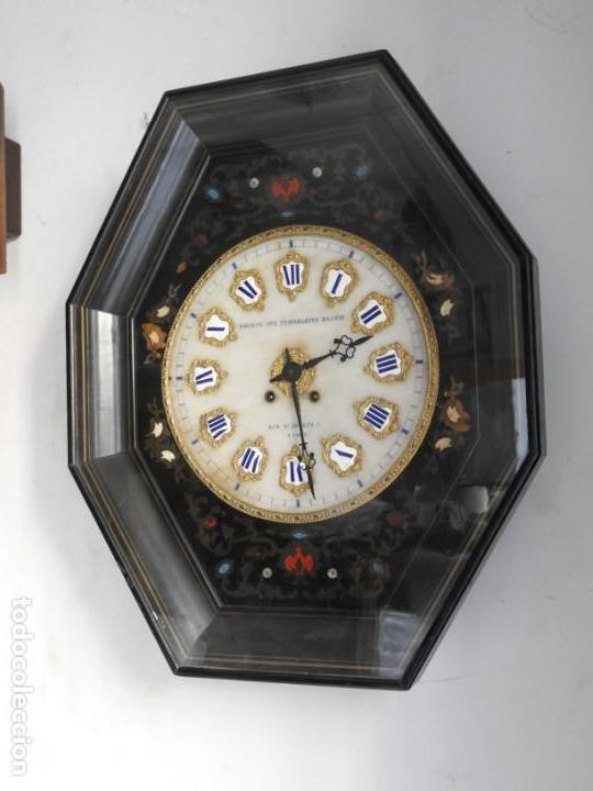 Relojes de pared: RELOJ DE PARED DE MARQUETERIA BOULLE NAPOLEON III - Foto 10 - 166355534