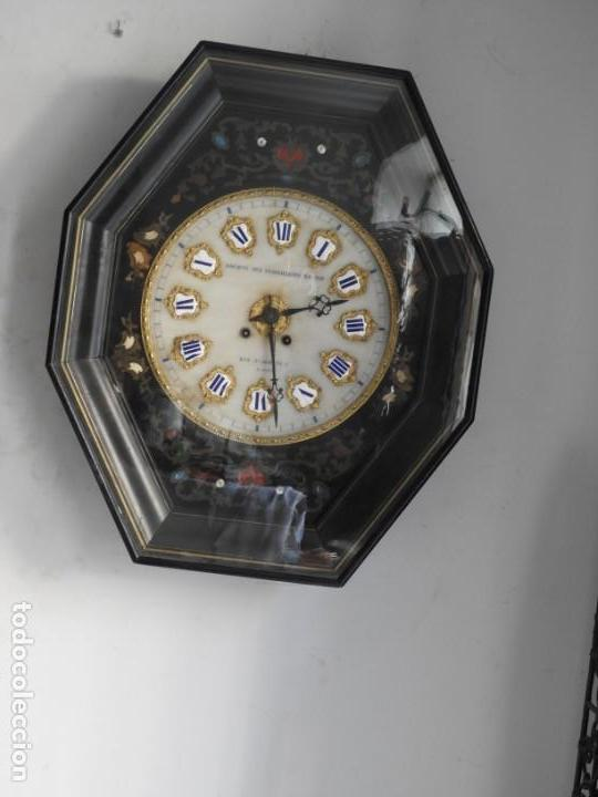 Relojes de pared: RELOJ DE PARED DE MARQUETERIA BOULLE NAPOLEON III - Foto 2 - 166355534