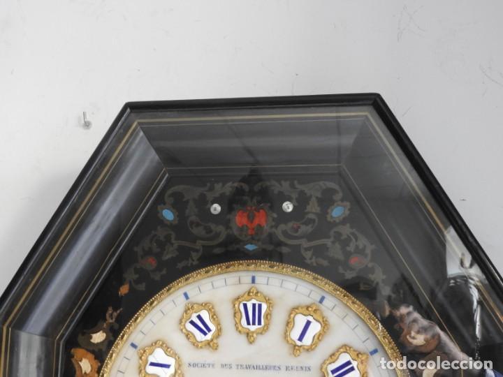 Relojes de pared: RELOJ DE PARED DE MARQUETERIA BOULLE NAPOLEON III - Foto 3 - 166355534
