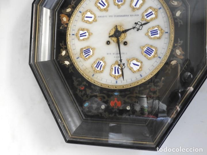Relojes de pared: RELOJ DE PARED DE MARQUETERIA BOULLE NAPOLEON III - Foto 4 - 166355534