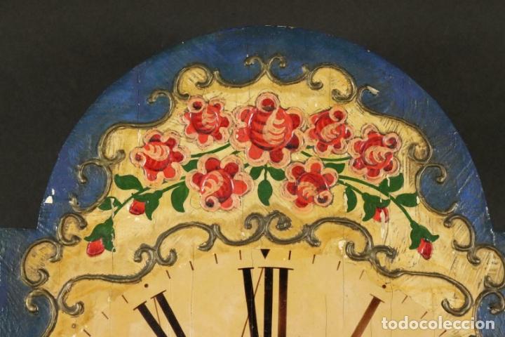 Relojes de pared: ANTIGUO RELOJ PARED S.XIX PENDULO PESAS SONERIA PINTADO MANO ORIG. FUNCIONANDO PERFECTO 34 x 24,5 cm - Foto 3 - 167407724
