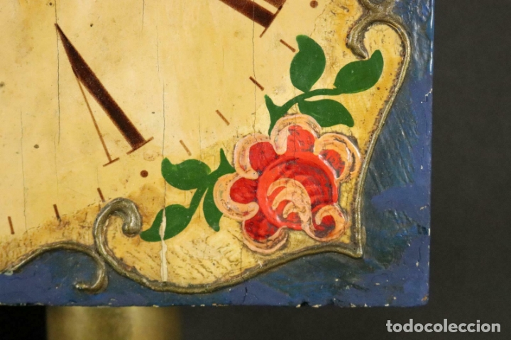 Relojes de pared: ANTIGUO RELOJ PARED S.XIX PENDULO PESAS SONERIA PINTADO MANO ORIG. FUNCIONANDO PERFECTO 34 x 24,5 cm - Foto 4 - 167407724
