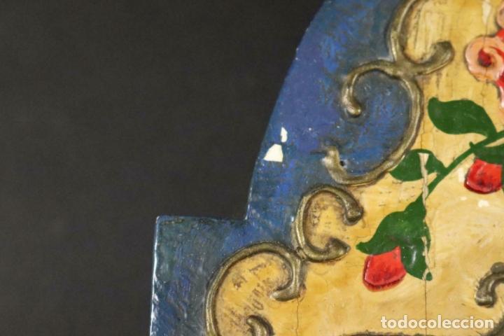 Relojes de pared: ANTIGUO RELOJ PARED S.XIX PENDULO PESAS SONERIA PINTADO MANO ORIG. FUNCIONANDO PERFECTO 34 x 24,5 cm - Foto 8 - 167407724