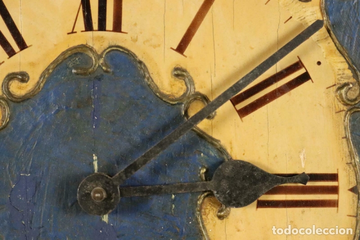 Relojes de pared: ANTIGUO RELOJ PARED S.XIX PENDULO PESAS SONERIA PINTADO MANO ORIG. FUNCIONANDO PERFECTO 34 x 24,5 cm - Foto 11 - 167407724