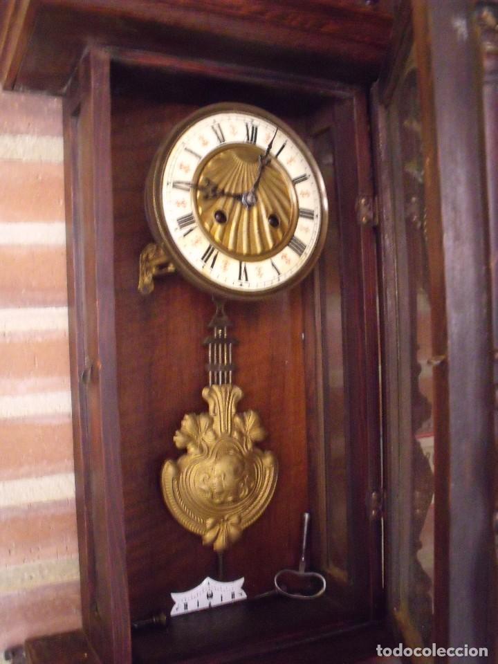 Relojes de pared: ¡¡GRANDISIMA OFERTA 5 DIAS!!!antiguo reloj alfonsino art-nouveau-junghans-año 1910-funciona --- - Foto 9 - 167837324