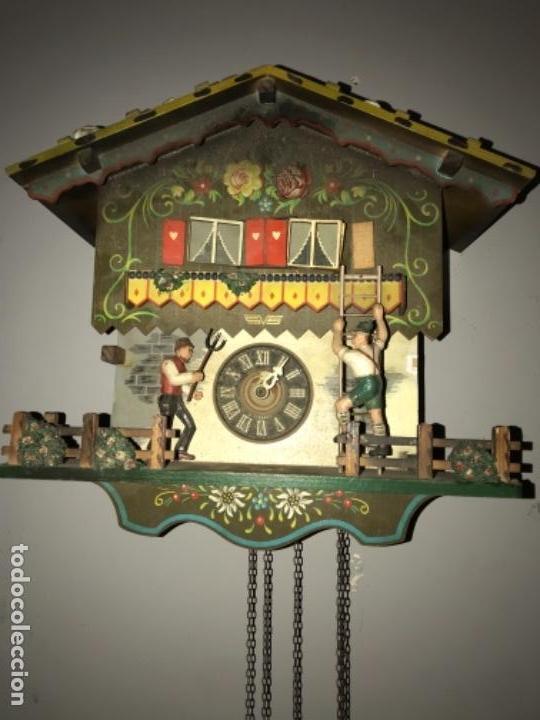 ANTIGUO RELOJ CUCO ALEMAN , PINTADO A MANO LEED DESCRIPCION (Relojes - Pared Carga Manual)