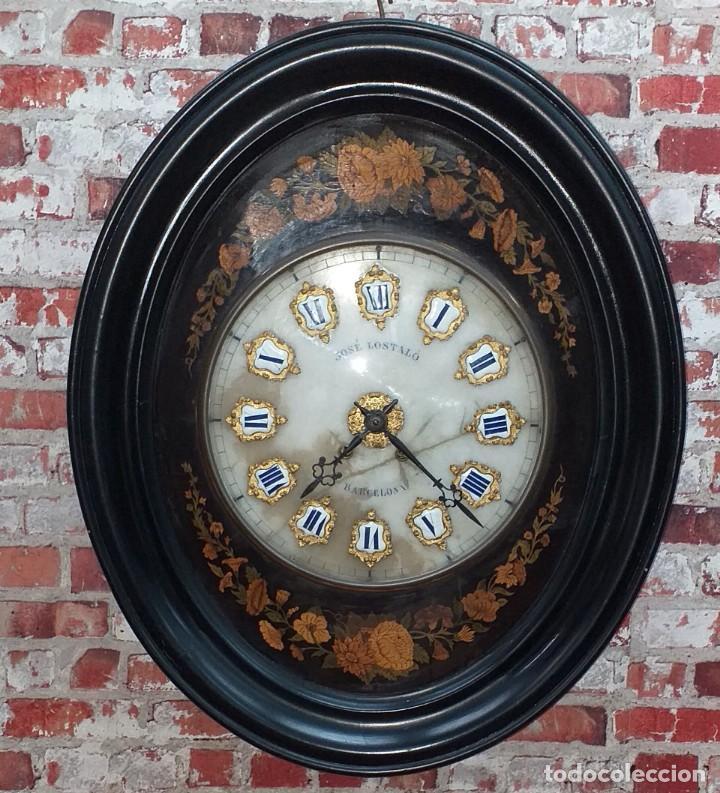 ANTIGUO RELOJ DE PARED FINALES SIGLO XIX (Relojes - Pared Carga Manual)