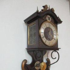 Relojes de pared: BONITO RELOJ DE PARED - TEMPS FUGIT - FUNCIONA - CARGA MANUAL A CUERDA, CON LLAVE -SONERÍA CARRILLÓN. Lote 180451685
