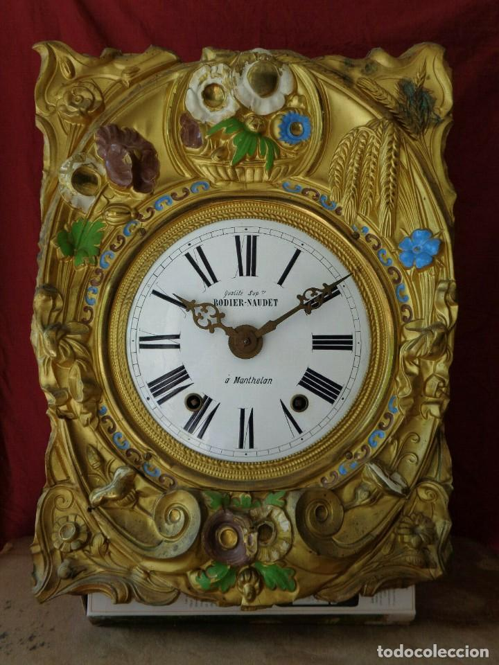 ¡¡GARN OFERTA !! ANTIGUA MAQUINARIA MOREZ POLICROMADA- AÑO 1890- LOTE 130 (Relojes - Pared Carga Manual)