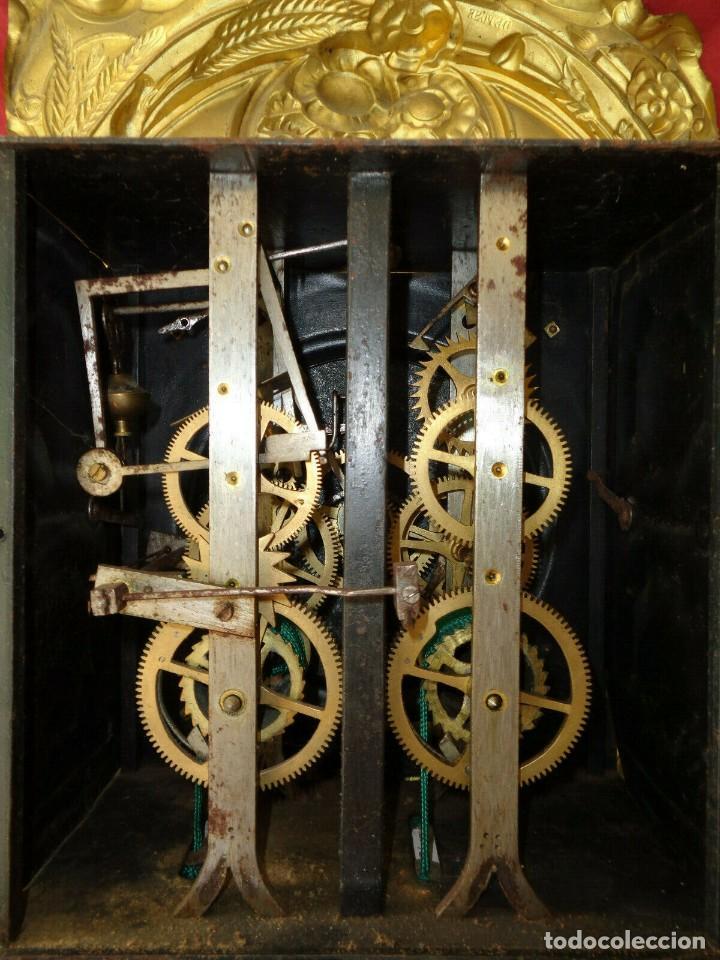 Relojes de pared: ¡¡GARN OFERTA !! ANTIGUA MAQUINARIA MOREZ POLICROMADA- AÑO 1890- LOTE 130 - Foto 6 - 170127628