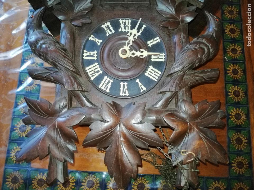 Relojes de pared: ANTIGUO RELOJ CUCU-CUCO TIPO CODORNIZ,CON PÁJAROS DE MADERA QUE MUEVEN LAS ALAS(HUBERT HERR TRIBERG) - Foto 26 - 171249045