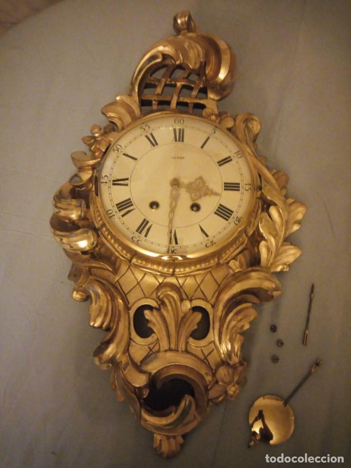 Relojes de pared: espectacular reloj de pared de carga manual luxor suisse made,madera recubierta de porcelana con oro - Foto 2 - 172787003