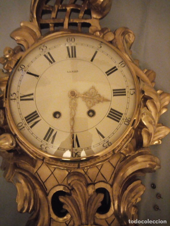 Relojes de pared: espectacular reloj de pared de carga manual luxor suisse made,madera recubierta de porcelana con oro - Foto 3 - 172787003