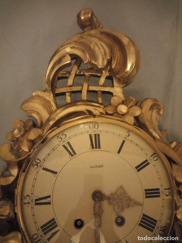 Relojes de pared: espectacular reloj de pared de carga manual luxor suisse made,madera recubierta de porcelana con oro - Foto 6 - 172787003