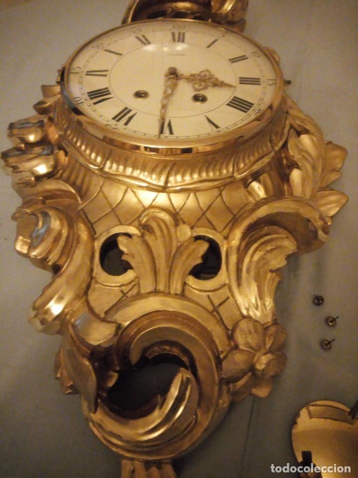 Relojes de pared: espectacular reloj de pared de carga manual luxor suisse made,madera recubierta de porcelana con oro - Foto 8 - 172787003