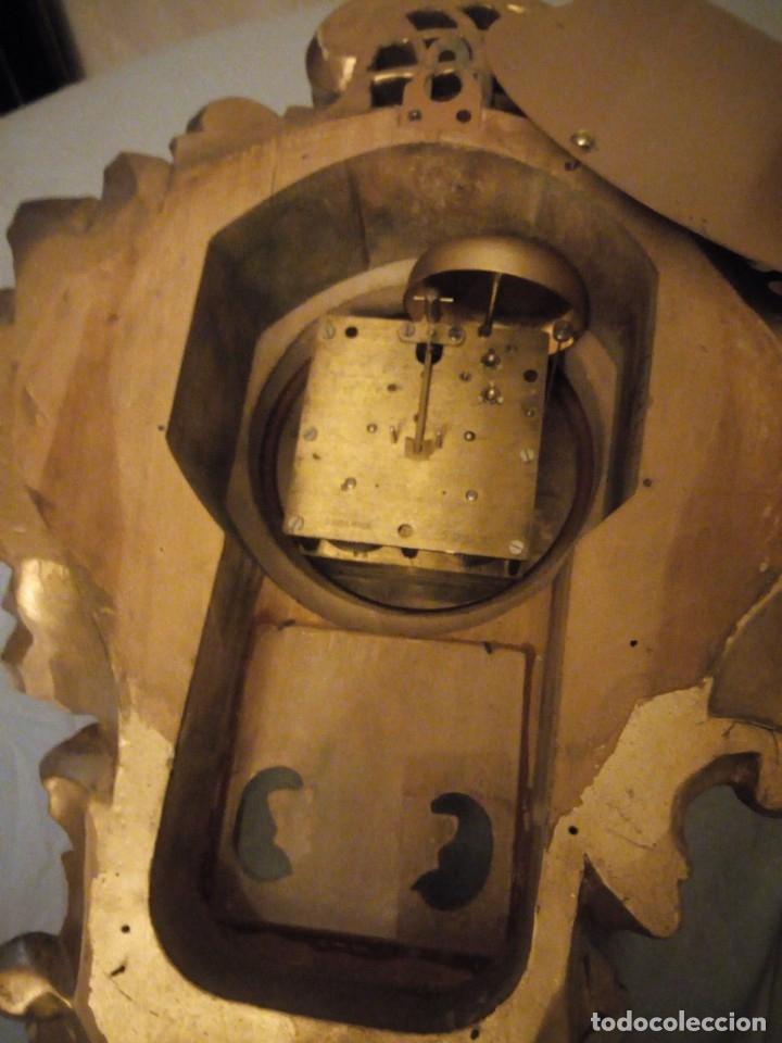 Relojes de pared: espectacular reloj de pared de carga manual luxor suisse made,madera recubierta de porcelana con oro - Foto 11 - 172787003