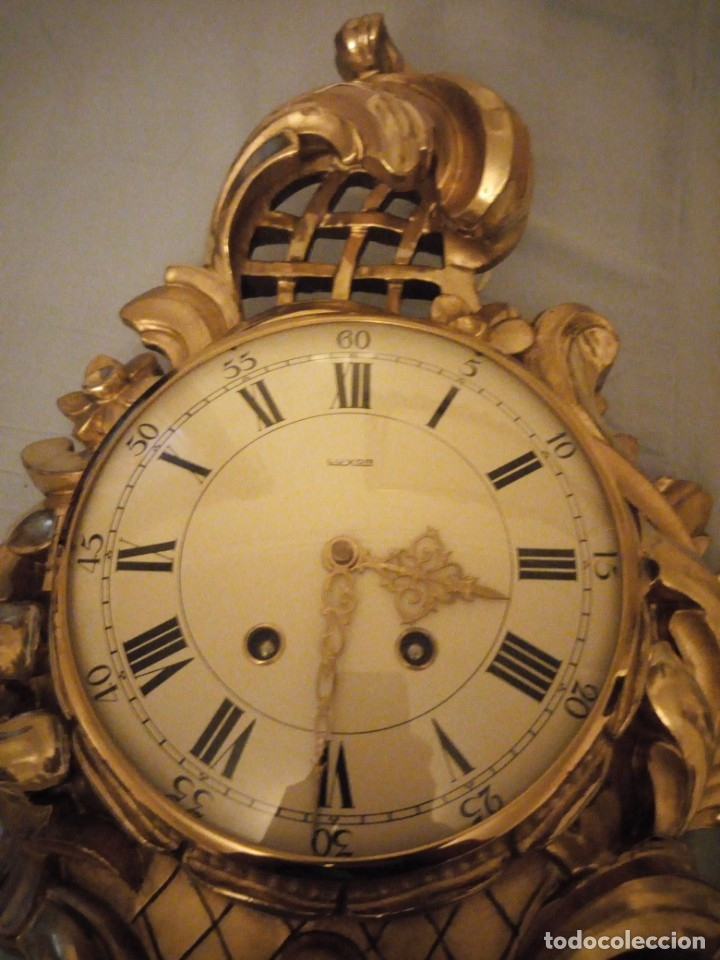 Relojes de pared: espectacular reloj de pared de carga manual luxor suisse made,madera recubierta de porcelana con oro - Foto 16 - 172787003
