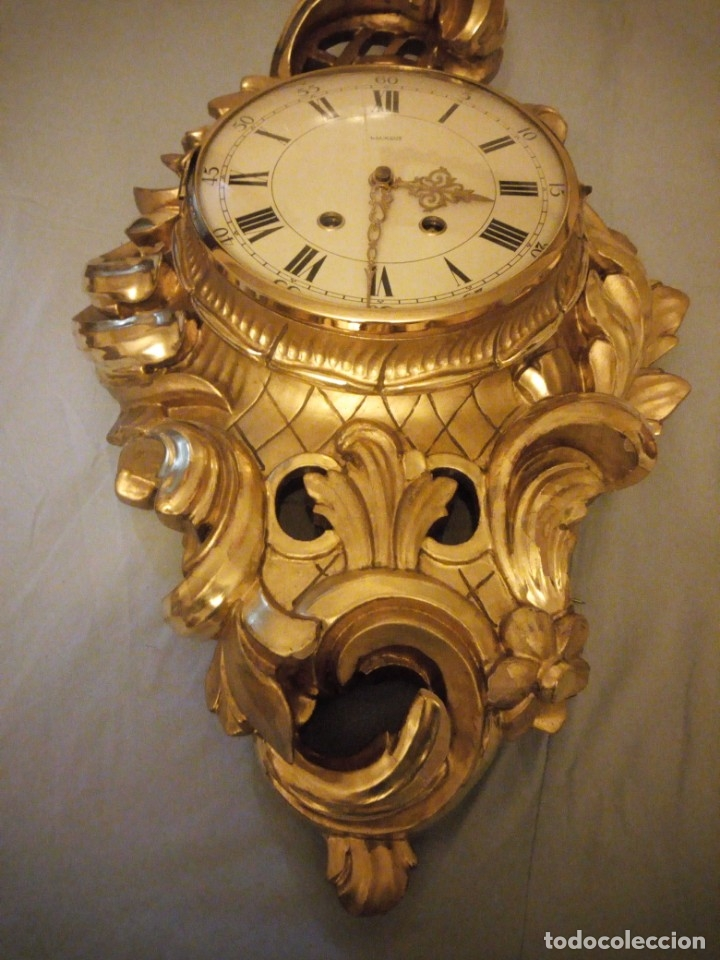 Relojes de pared: espectacular reloj de pared de carga manual luxor suisse made,madera recubierta de porcelana con oro - Foto 17 - 172787003
