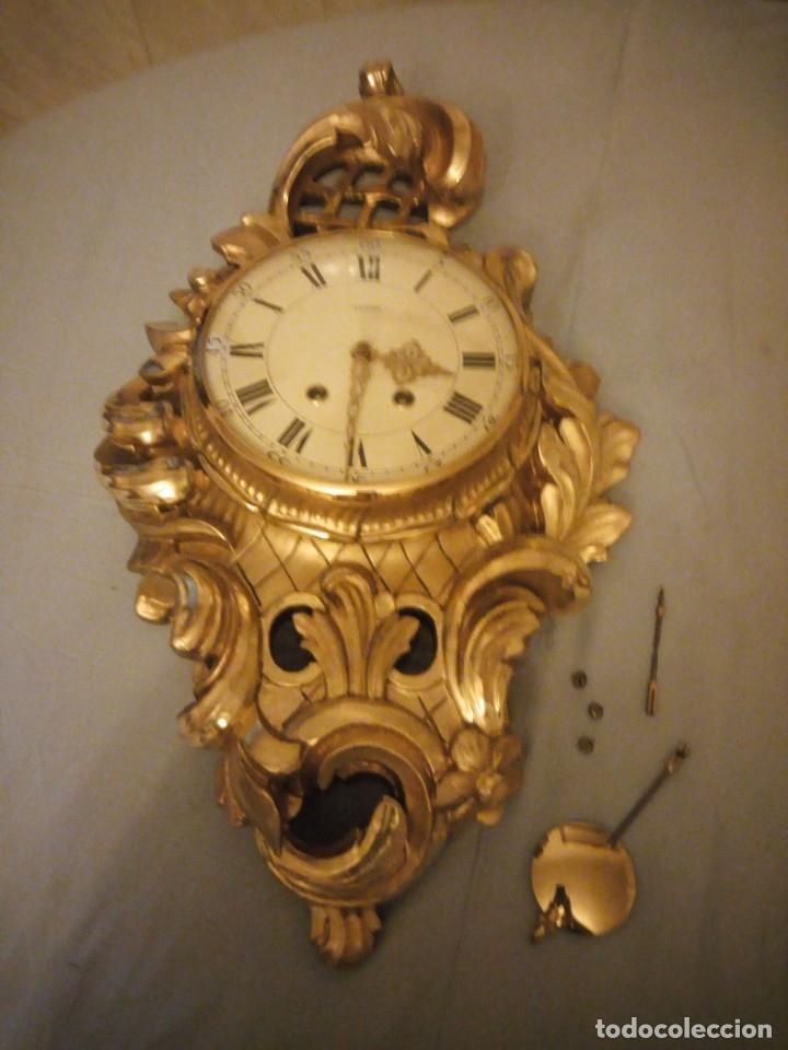 Relojes de pared: espectacular reloj de pared de carga manual luxor suisse made,madera recubierta de porcelana con oro - Foto 18 - 172787003