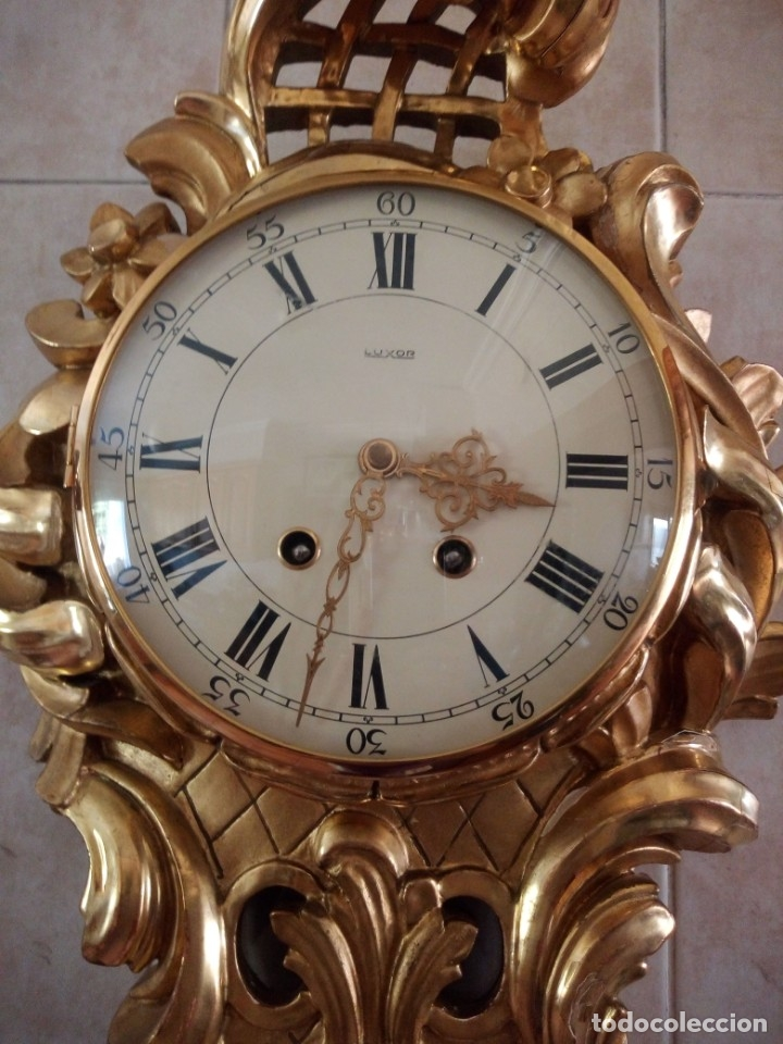 Relojes de pared: espectacular reloj de pared de carga manual luxor suisse made,madera recubierta de porcelana con oro - Foto 19 - 172787003