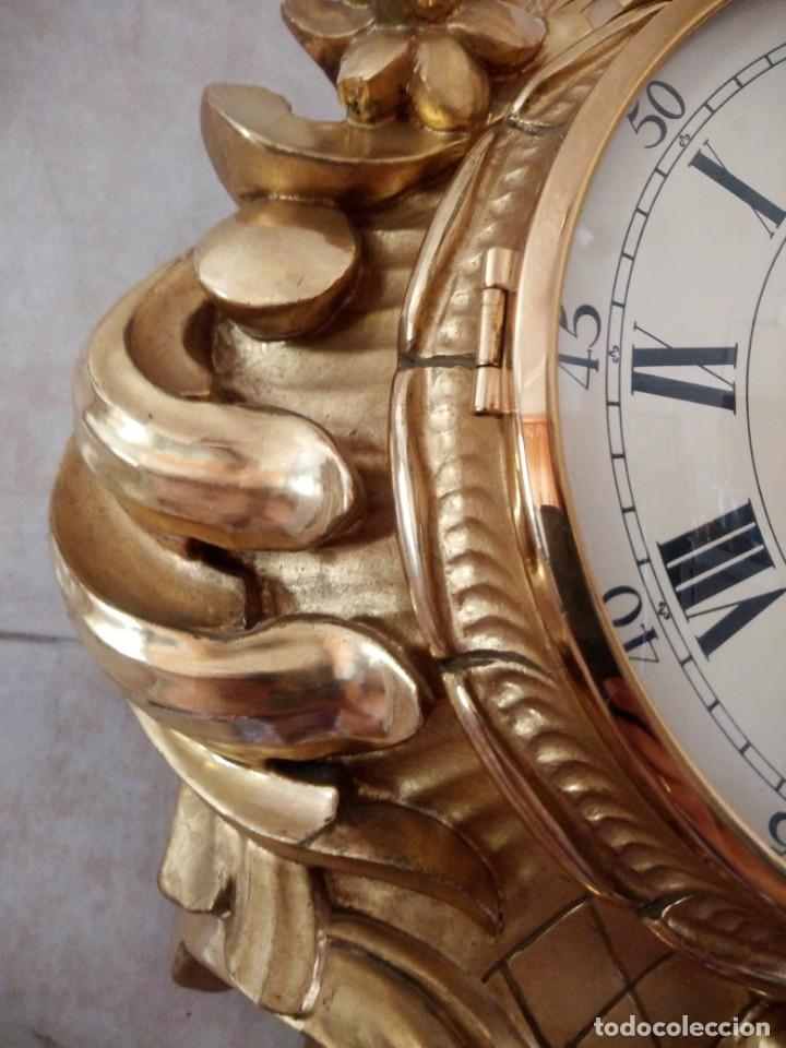 Relojes de pared: espectacular reloj de pared de carga manual luxor suisse made,madera recubierta de porcelana con oro - Foto 22 - 172787003