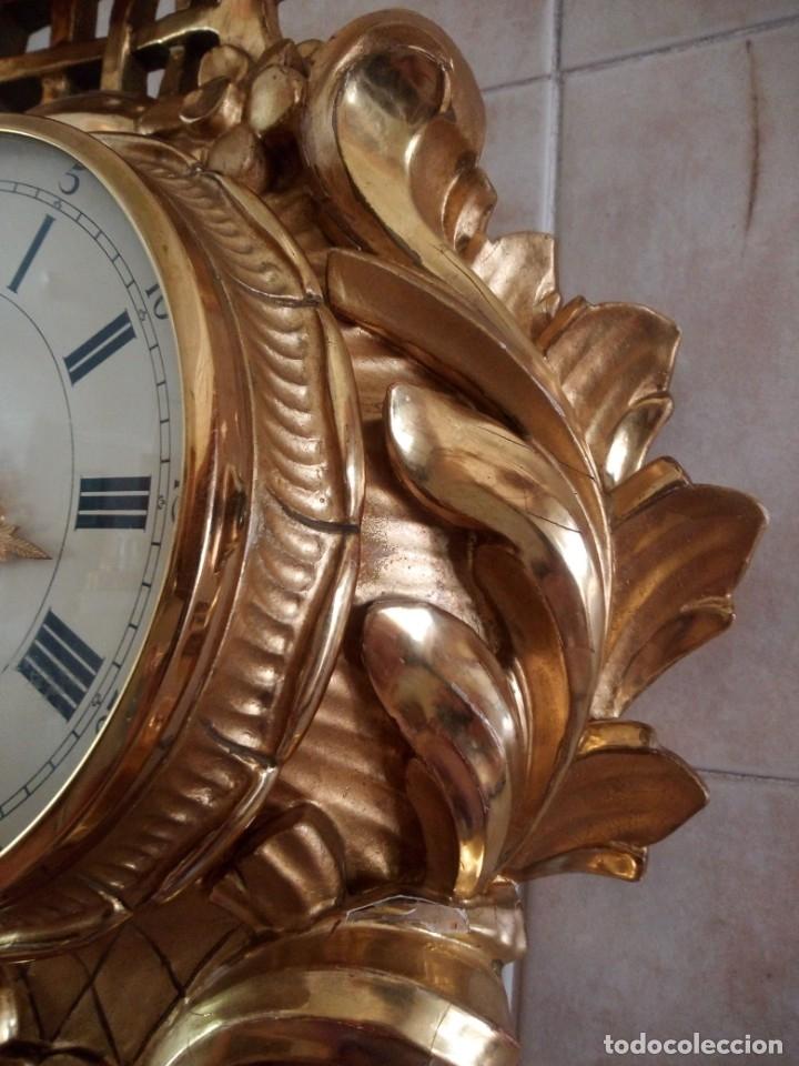 Relojes de pared: espectacular reloj de pared de carga manual luxor suisse made,madera recubierta de porcelana con oro - Foto 24 - 172787003