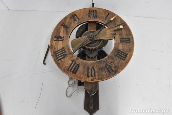 Relojes de pared: gran reloj madera muy raro s. XIX 3 campanas .Dimensiones: 60x83x25 cm pieza de museo 980 eu. - Foto 7 - 173082357