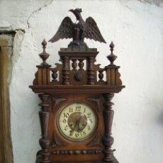 Relojes de pared: IMPRESIONANTE RELOJ,ALEMAN, GUSTAV STEINERT,FUNCIONANDO , 103 X 39 X 17 CM. Lote 173844528
