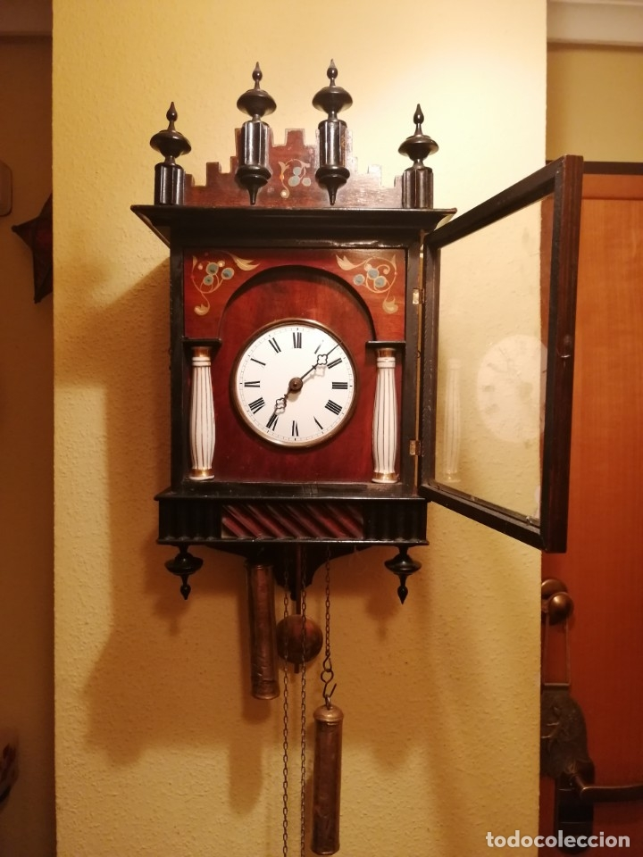 Relojes de pared: ANTIGUO RELOJ RATERA SELVA NEGRA SIGLO XIX. MECÁNICO Y FUNCIONANDO. - Foto 11 - 175349069