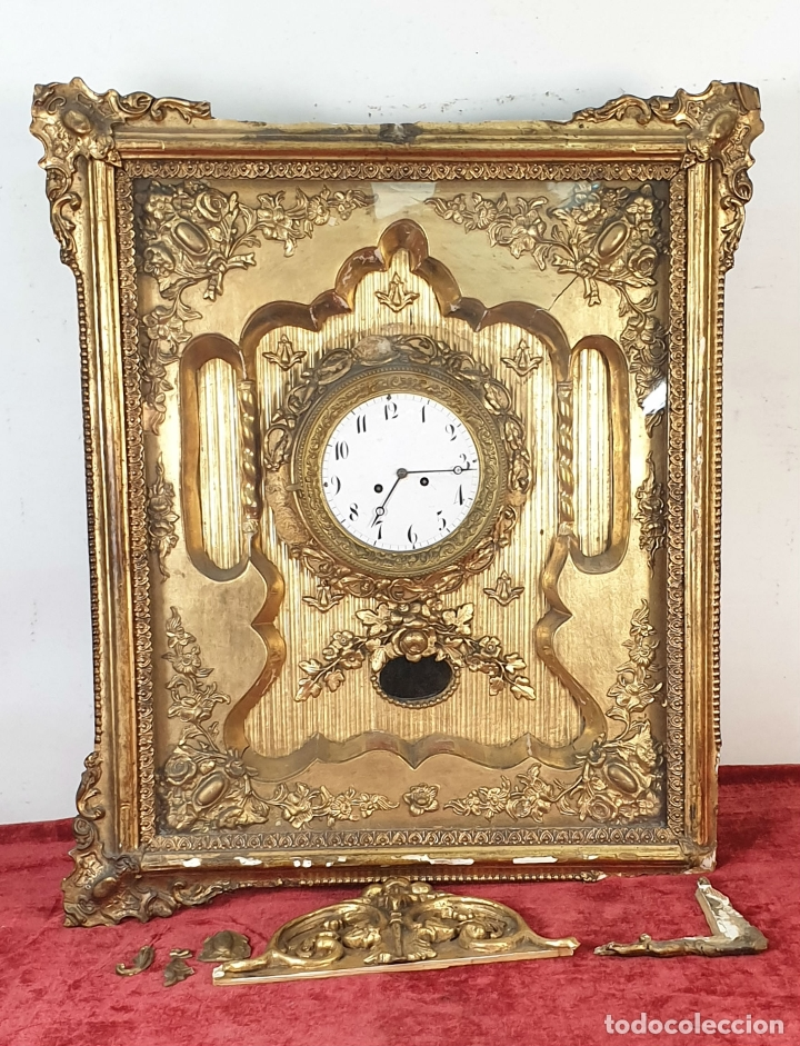 RELOJ DE PARED. ESTILO SEGUNDO IMPERIO. MAQUINARIA PARÍS. SIGLO XIX. (Relojes - Pared Carga Manual)