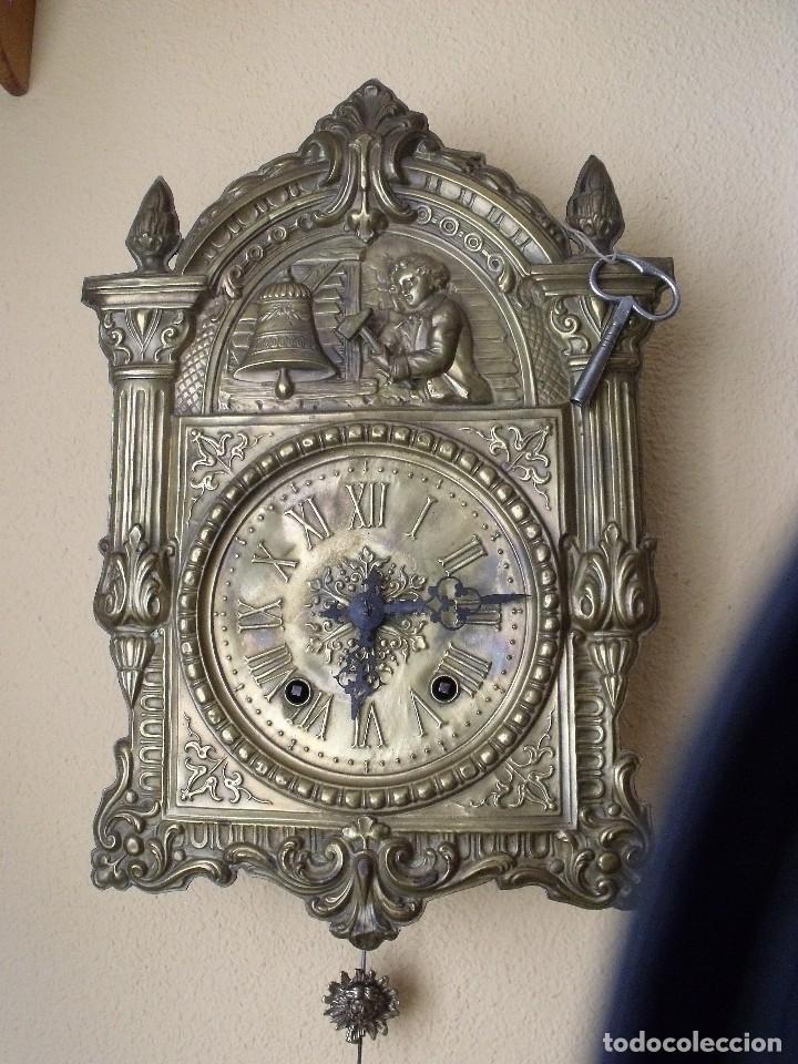 ¡¡GRAN OFERTA!!! RARISIMO RELOJ MOREZ CON AUTOMATA- AÑO 1880- RELOJ MAQUINARIA CON MECANISMO AUTOMA (Relojes - Pared Carga Manual)