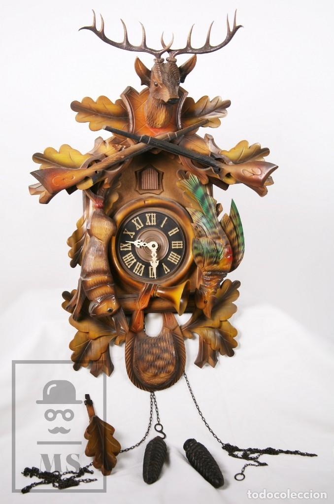 Relojes de pared: Reloj de Cuco Alemán Regula - Madera Tallada / Motivos de Caza o Cinegética - Funcionando - Foto 2 - 177116065