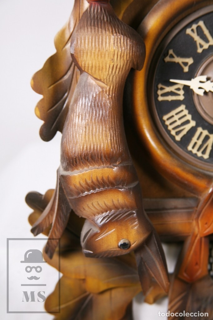 Relojes de pared: Reloj de Cuco Alemán Regula - Madera Tallada / Motivos de Caza o Cinegética - Funcionando - Foto 5 - 177116065