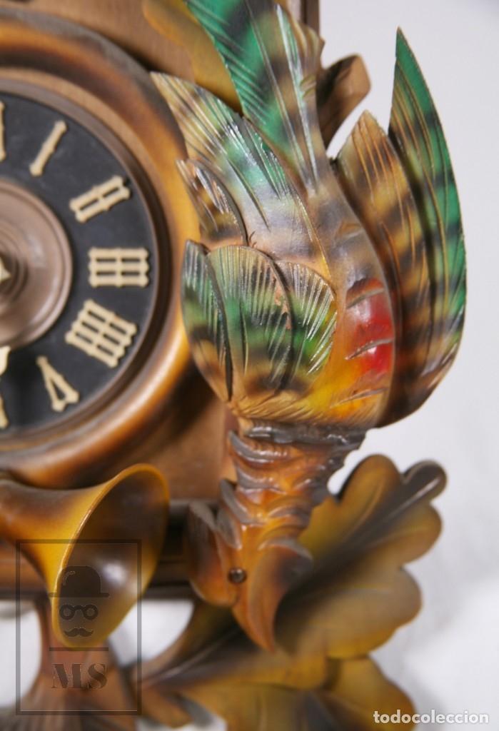 Relojes de pared: Reloj de Cuco Alemán Regula - Madera Tallada / Motivos de Caza o Cinegética - Funcionando - Foto 6 - 177116065