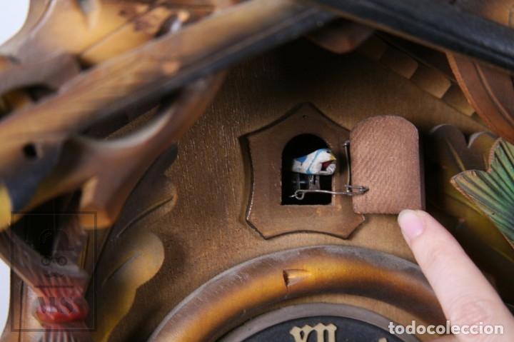 Relojes de pared: Reloj de Cuco Alemán Regula - Madera Tallada / Motivos de Caza o Cinegética - Funcionando - Foto 7 - 177116065