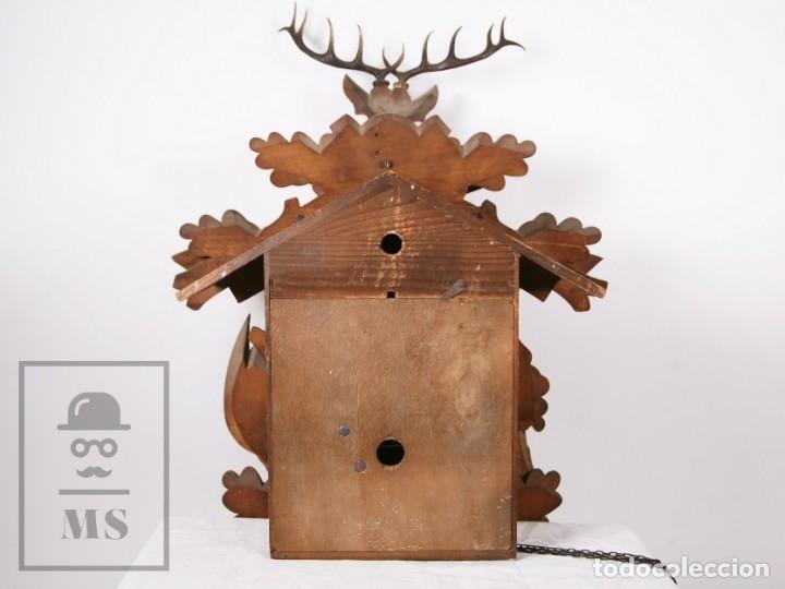 Relojes de pared: Reloj de Cuco Alemán Regula - Madera Tallada / Motivos de Caza o Cinegética - Funcionando - Foto 15 - 177116065