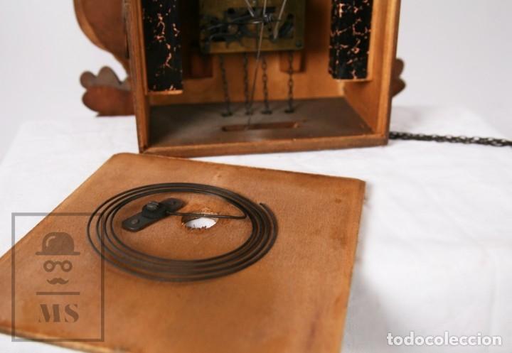 Relojes de pared: Reloj de Cuco Alemán Regula - Madera Tallada / Motivos de Caza o Cinegética - Funcionando - Foto 16 - 177116065