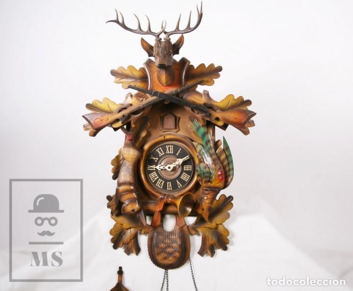 Relojes de pared: Reloj de Cuco Alemán Regula - Madera Tallada / Motivos de Caza o Cinegética - Funcionando - Foto 25 - 177116065