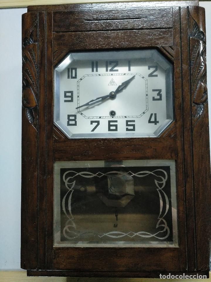 RELOJ ANTIGUO DE PARED DE MADERA (Relojes - Pared Carga Manual)